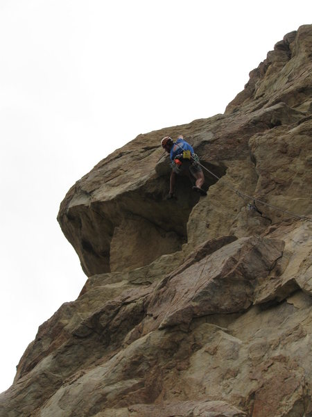 Rock Climbing Photo: Erik H. leading Master Cylinder, mid-crux