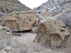 Rock Climbing Photo: The main routes at the Tiffany Boulders: Green: Ti...