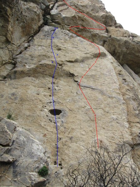 Snidely's Whiplash (5.8R) follows the blue line. The red line to the right is Magic Bag (5.9)
