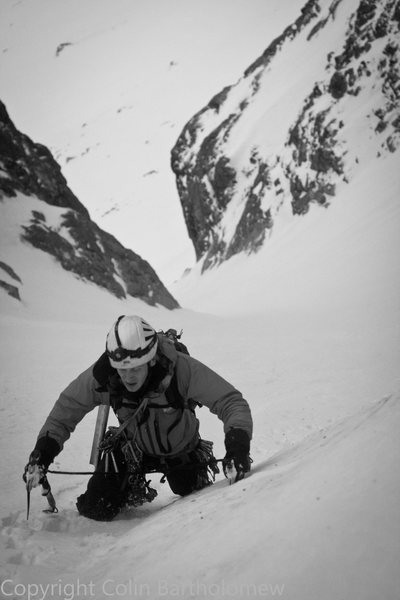Rock Climbing Photo: Peter Moore in the first couloir. Photo Colin Bart...