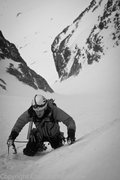 Peter Moore in the first couloir. Photo Colin Bartholomew.