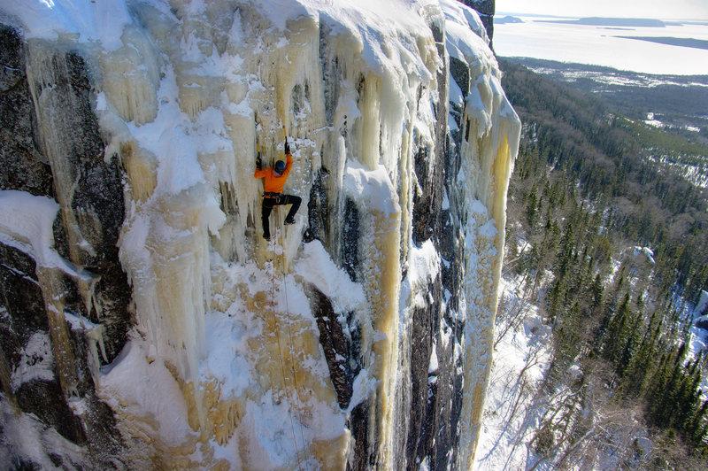 Icebreaker Arete. Climbing near the top. 3/6/11.