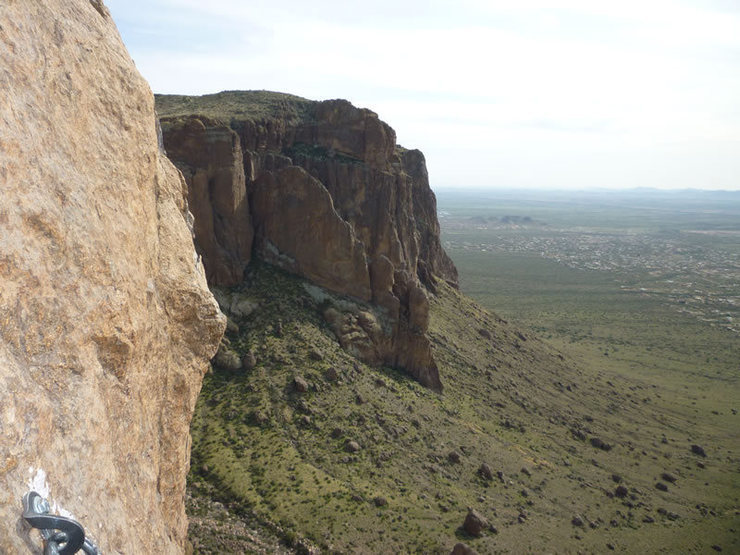 View south from the top of Spider Walk (Pitch 4). Note the nice new anchor bolt.