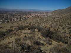 Rock Climbing Photo: View from the ridge looking down at U-Mound. The B...