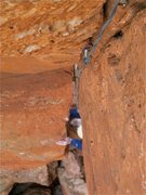 Rock Climbing Photo: coming out of the roof on the second pitch