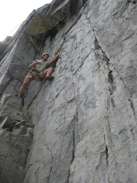 Pascal negotiating the crux move