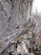 Rock Climbing Photo: Side view of most of the Dark Side with a climber ...