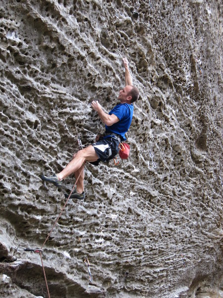 Rock Climbing Photo: Pulling steep pockets in the first crux of SOC.