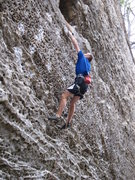 Rock Climbing Photo: Sticking the dyno that guards the entrance to the ...