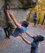 Rock Climbing Photo: Micah on an attempt.