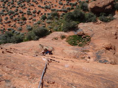 Rock Climbing Photo: Annie following up the airy 2nd pitch to the fat b...