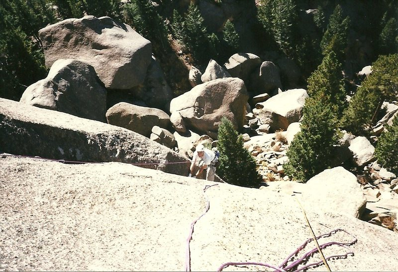 Rock Climbing Photo: Following the 1st pitch.  1999.