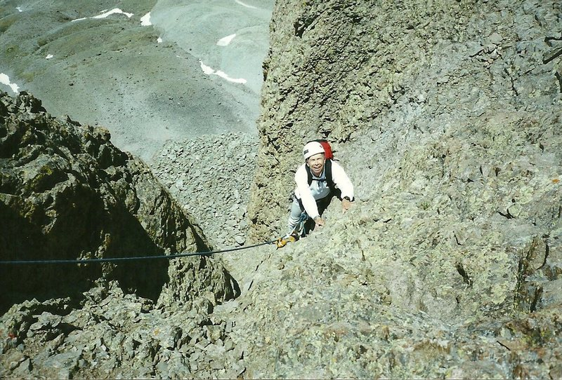 Rock Climbing Photo: My dad, age 62, on the last pitch.  His last 13er.
