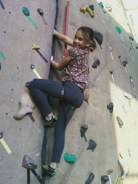 "Rock Climbing Photo: Mia Aguon age 9 learning the art of ""crack cl..."