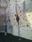 Mia Aguon (age 9) firing off on the 1st crux!! Trying to place a hand jam to rest on!! She's a rock star!!