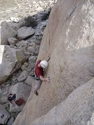 Rock Climbing Photo: Mike making a run up Valley Girl (5.10b)