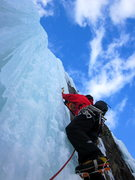 Rock Climbing Photo: The last steep pitch of ice.