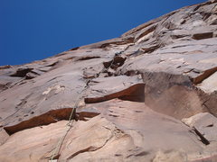 Rock Climbing Photo: Leading P1 of Levitation 29