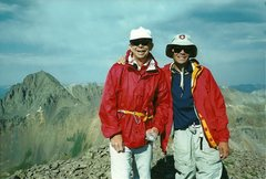 Rock Climbing Photo: On the summit of Dallas Peak with my dad.  2002.