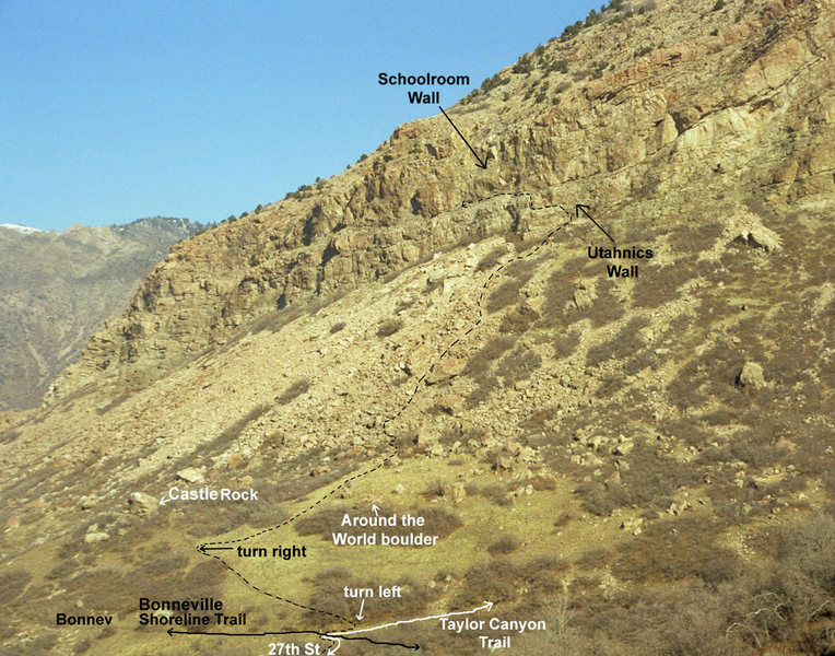 """The Schoolroom Wall as seen from The Bonneville Shoreline Trail on Malan's Peak.  Approach as follows:<br> <br> The Southern area is best reached by climbing the large talus slope which is reached from 27th street in Ogden.   From 27th Street head toward """"Castle Rock"""", a large boulder at the base of the talus that some genius has dumped white paint on (probably a result of the questionable breeding practices in this state).   The best way to reach Castle Rock is to follow the Taylor canyon trail, just after it crosses the Bonneville Shoreline Trail, turn left on a faint path into the scrub oak.  About 50 yards before Castle Rock turn right on a steep trail that leads to the Upper Boulder field and the &quot;Around the World Boulder&quot;.  Head to the NW corner of the Upper Boulderfield where a faint trail leads through a short band of scrub oak and onto the large talus field.  Head up the talus, veering left as you ascend to the Utahnics Wall, a smooth 50 foot wall with a sharp arete and right facing dihedral on its left side.  To reach the routes on the upper tier, either climb one of the Utahnics routes, or scrmble up 3rd class ledges just below the route """"Hype Dependant"""".  Once the upper tier is gained, hike 50' north to the base of Tree Crack. From this point hiking North, you will encounter the Schoolroom Wall, The Great Flake, The 5.10 Slab, The Tangerine, and eventually (a quarter mile later) The Alcove."""
