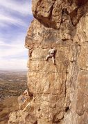 Rock Climbing Photo: Bound for Glory is the arete left of Ken in this p...