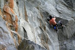 Rock Climbing Photo: On the low crux of Vertigo