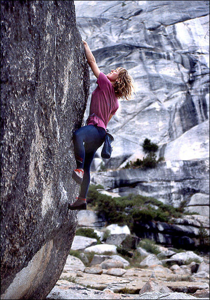 Rock Climbing Photo: Lidija Painkiher bouldering at Toulumne Meadows. P...