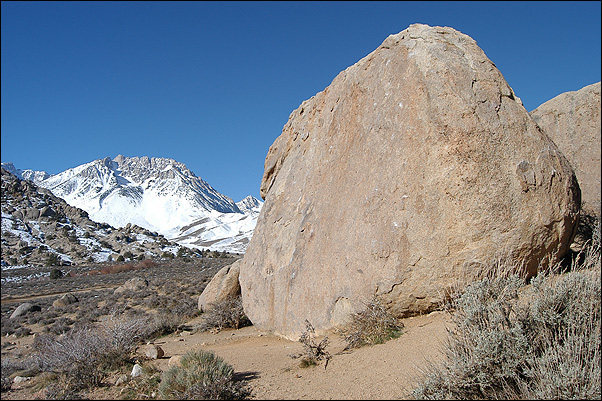 Sunshine Boulder from the east.<br> Photo by Blitzo.