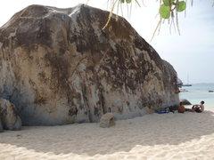 Rock Climbing Photo: main boulder, especially cool 20'+ highball in cen...