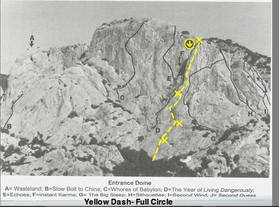 Rock Climbing Photo: Rough topo marks for Full Circle- Photo Bob Kerry'...