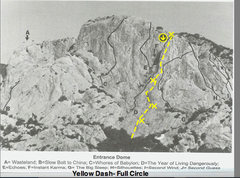 Rock Climbing Photo: Rough topo marks for Full Circle- Photo Bob Kerry'...