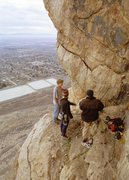 Rock Climbing Photo: Gangsta's hangin' on their ledge.  L to R: Colby W...