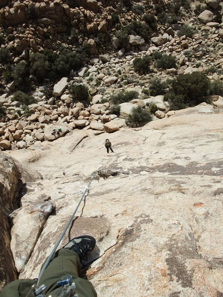 Rock Climbing Photo: looking down to the bolted belay