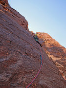 Rock Climbing Photo: Just after the initial crux section on pitch 2. We...