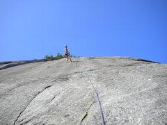 Rock Climbing Photo: Joe Rapping down The Cash Man 5.10b R
