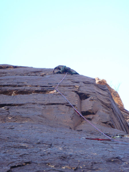Rock Climbing Photo: Just after the second crux of pitch 2. If you are ...