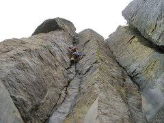 Rock Climbing Photo: Joe Leading The X Factor 5.7