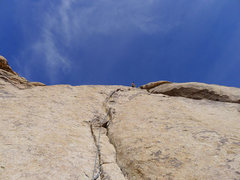 Rock Climbing Photo: on the right curving crack past the 2 bolt belay