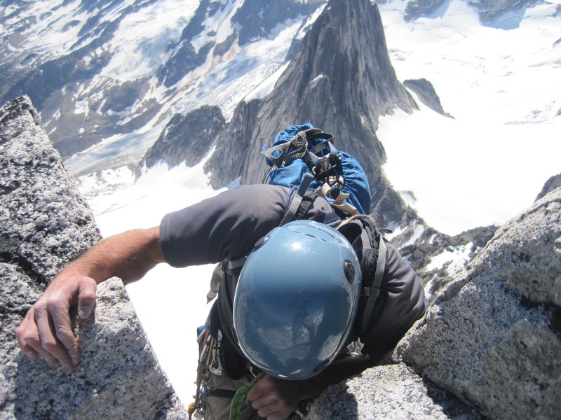 descending bugaboos spire. Takes 3x longer that the ascent..