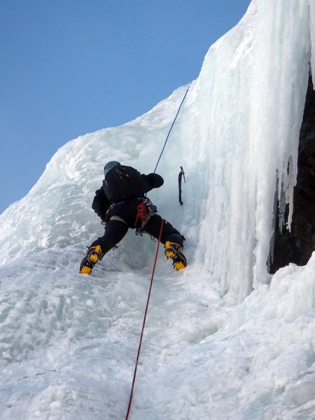 Rock Climbing Photo: Mustafa follows the steep part of the first pitch ...