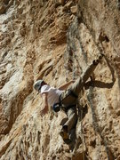 Rock Climbing Photo: Working the tufa finish; pushing for the chains.