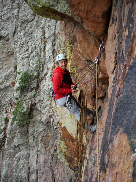Lin Murphy at the hanging belay at the top of P1, 1-9-10.