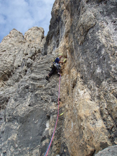 Mid-route climbing