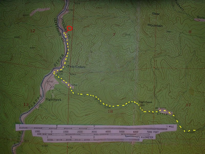 Half Dome map.<br> <br> Yellow - The &quot;Sprucewood&quot; approach drive from Sedalia.   Nighthawk Hill is 15% grade, single lane, dirt road.  Luckily the road is sunny on the steepness and passable most of the winter.  <br> <br> Red - short hike to Half Dome.