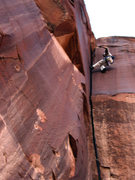 Rock Climbing Photo: Epic Eric takes a fall. Notice draw in hand. Style...