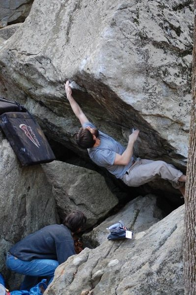 Rock Climbing Photo: Mike going for the slopey crimp.