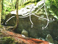 Rock Climbing Photo: 1. Nate's Traverse 2. Unamed 3. Gaia 4. Gaia Direc...