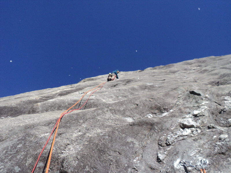 Rock Climbing Photo: Dodging continuous ice bombs in frigid January con...