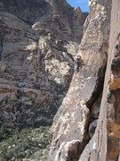 Rock Climbing Photo: Joel Bruhn on the P2 variation, second bolt.