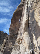 Rock Climbing Photo: Joel Bruhn on the P2 dihedral.